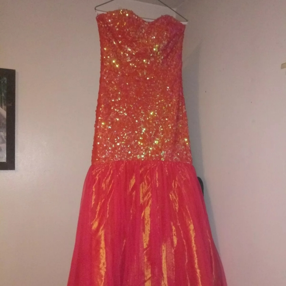 Dresses & Skirts - Masquerade Mermaid orange sequins prom dress